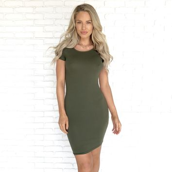 Cecelia Essential Bodycon Dress in Olive