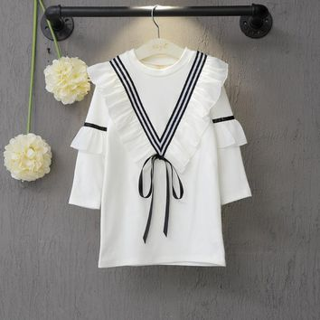 Beach Dress Casual Baby Girl Dress 2017 New Arrival Kids Clothes Autumn Long Sleeved Bohemian Striped School Uniforms Costume