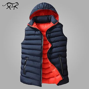 Mens Winter Sleeveless Jacket Men Down Vest Men's Warm Thick Hooded Coats Male Cotton-Padded Work Waistcoat Gilet Homme Vest 8XL