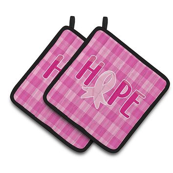 Breast Cancer Awareness Ribbon Hope Pair of Pot Holders BB6981PTHD