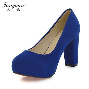 New Arrivals 2017 Fashion Shallow Thick High Round Toe High Heels Platform Pumps