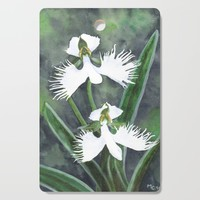 Habenaria radiata white egret orchids flowers Cutting Board by savousepate