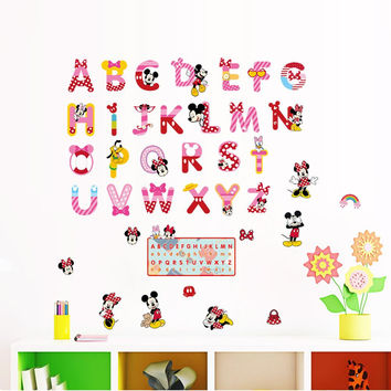 minnie mickey 26 alphabet cartoon funny letters wall stickers kids room decoration nursery mural art home decals children gift SM6