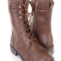 Brown Lace Up Combat Flat Boots Faux Leather