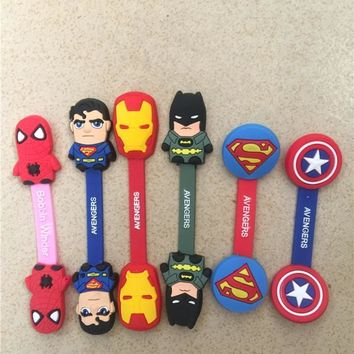 12pcs/lot The Avengers Headphone Earphone Cable Wire Organizer Cord Holder Spiderman Batman Ironman USB Charger Cable Winder