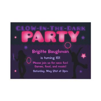 Purple and Pink Glow in the Dark Party Invitation from Zazzle.com