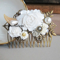 White Wedding Comb Statement Bridal Hair Accessories Floral Headpiece Big Flowers Leaves Rhinestone Pearl The Great Gatsby Flapper 1920s JW