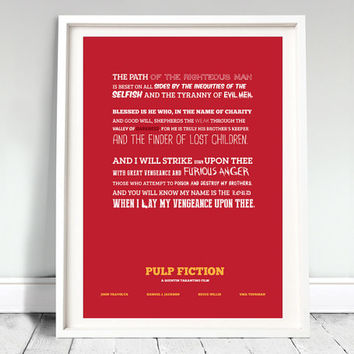 "PULP FICTION - movie poster: 12x16"" art, print, type, typographic print, illustration, minimal, quote, tarantino, film, movie"