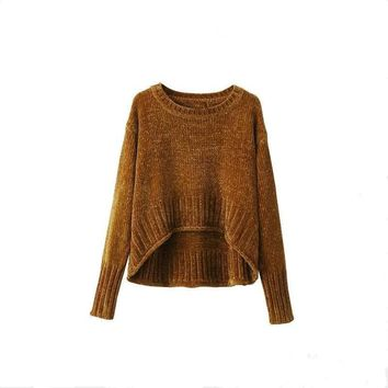 Fashion 2017 Early Spring Chenille Sweater O-neck Long Sleeve Loose Pullover Front Short Back Long Knitted Sweater Pull Femme