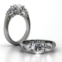 AMAZING 2.37CT WHITE ROUND STUD 925 STERLING SILVER ENGAGEMENT AND WEDDING RING