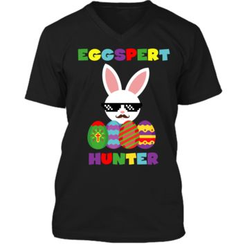 Easter Funny Egg Hunter Costume T-Shirt Gifts For Boys Girls Mens Printed V-Neck T