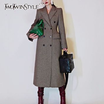 TWOTWINSTYLE Plaid Woolen Coats Female Double Breasted High Waist Lapel Collar X Long Overcoat Winter Women Vintage Fashion