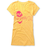 Hurley Girls One & Only Plus Skully Yellow V-Neck Tee Shirt