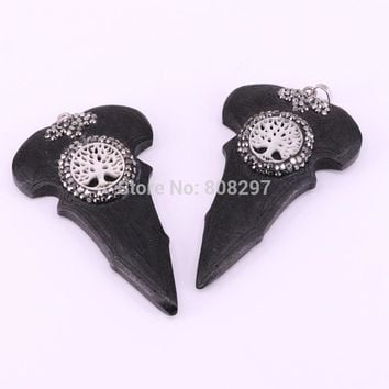 5Pcs Arrowhead wood pendant charms Carved arrow shape with pave rhinestone fashion retro jewelry