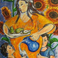 Mother Art Print - Mothers Love - Mother with Children - Reproduction
