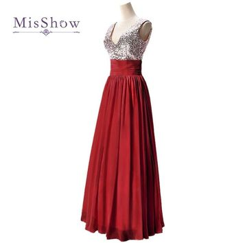 MisShow Cheap V Neck Silver Sequin Burgundy Bridesmaid Dresses Under $50 For Wedding Party Gowns 5 Colors Long Prom Dresses