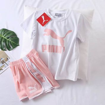 Puma Girls Boys Children Baby Toddler Kids Child Fashion Casual Shirt Top Tee Shorts Two Piece Set