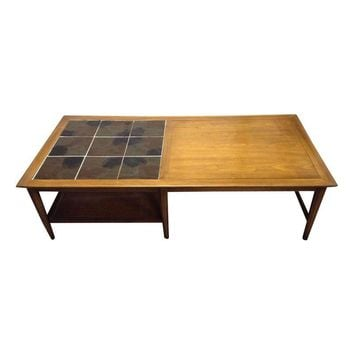 Pre-owned Mid-Century Modern Tile Top Coffee Table