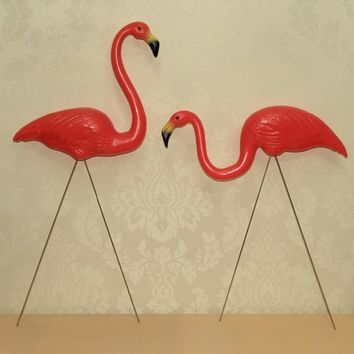 """1 pair plastic bright  red flamingo garden,yard and lawn art ornament wedding ceremony decoration with 31"""" height"""