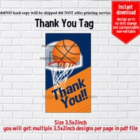 Instant Download, #89 Basketball, boy sport, kids birthday Thank you TAG, 3.5x2inch printable, non-editable NOT CUSTOMIZABLE
