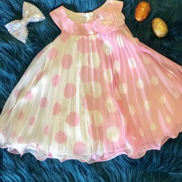 Spring Perfect Adorable Pink & White Polka Dot Dress