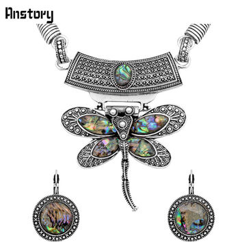Butterfly Pendant Shell Jewelry Sets Necklace Earrings For Women Vintage Antique Silver Plated Wedding Party Gift TS261