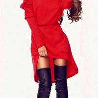 Red Long Sleeve Asymmetric Hem Mini Dress