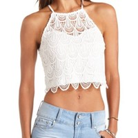 SCALLOPED CROCHET HALTER CROP TOP