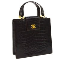 Chanel Rare Vintage Crocodile Gold Kelly Style Evening Top Handle Satchel Bag