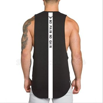 Brand NO PAIN NO GAIN clothes bodybuilding stringer gyms tank top men fitness muscle singlet cotton sleeveless shirt muscle vest