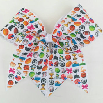 Sports Emoji cheer bow, sports cheer bow with ponytail holder, cheerleading bow, football baseball golf tennis gamer soccer swim, emoji bow