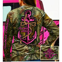 Country Life Southern Attitude Pink Bone Realtree Camo Anchor Bow Long Sleeve  T-Shirt