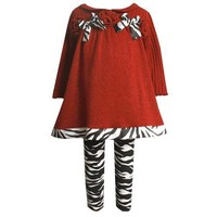 Bonnie Jean Zebra Red Christmas Top Legging Outfit Baby Toddler Girl 3M-4T
