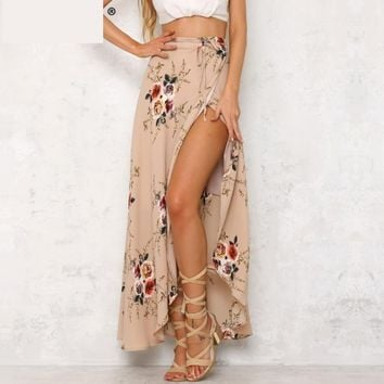 floral print long skirts elegant maxi skirt Boho high waist asymmetrical skirt