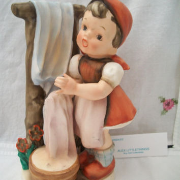 Hummel Like Girl Figurine Doing Laundry # AH 3390F