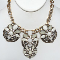 Be Mine Crystal Statement Necklace Set - Ivory