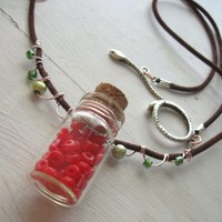 Red Apothecary Bottle Necklace Temptation