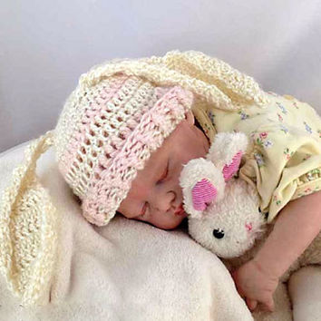 Outlander Crocheted Baby Bunny Hat Newborn to 3 months Mandy Pink Cream White Bonnet Photo Prop Rabbit Diana Gabaldon FREE SHIPPING