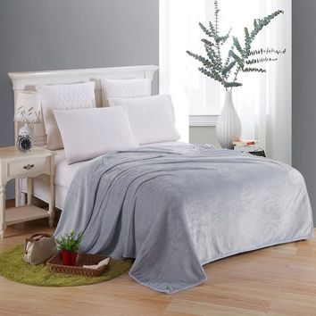 Cool Soft Blanket On The Bed Polyester Coral Fleece Plaid Gray Color Adult Winter Warm Sheets Coverlet Bedspread Flannel BlanketsAT_93_12