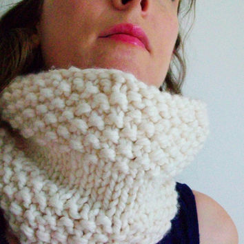 Off White Knit Neckwarmer Cream White Chunky Cowl Circle Scarf-Only 1 left in stock!