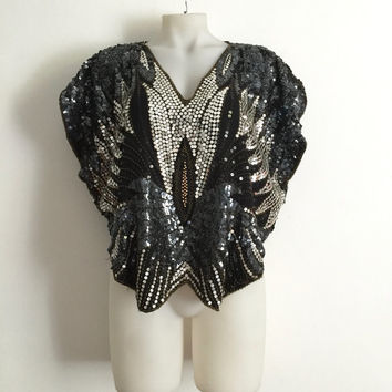 Vintage 1980s 'Ladies Guide' butterfly design sequin and beaded party top with V neck and shaped hem / Size Large