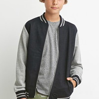 Boys Heathered-Sleeve Varsity Jacket (Kids)