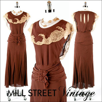 RESERVED  Vintage Dress 1930s 30s  Chocolate by millstreetvintage