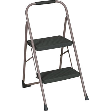 Cosco Gray Sturdy 2 Step Lightweight Folding Flat Big Step Stool Ladder with Hand Grip