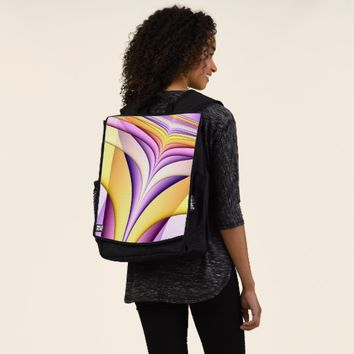 Pastel coloured fractal. Yellow, pink, purple. Backpack