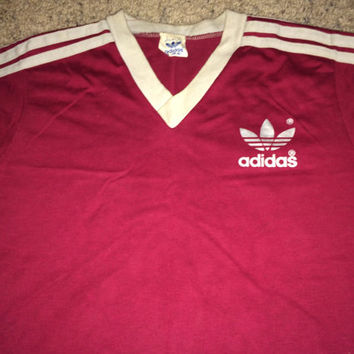 Sale!! Vintage 1980s Adidas Casual Red T shirt Trefoil Tee Made in USA