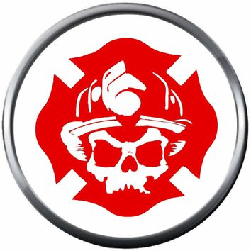 Skull In Red Maltese Cross Fire Rescue Fireman Firefighter Thin Red Line Courage Under Fire 18MM-20MM Snap Charm Jewelry New Item