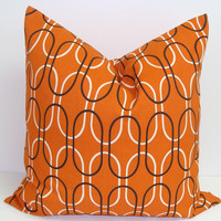 Orange Pillow.Orange and Brown Pillow.18x18 inch.Decorator Pillow Cover.Printed Fabric Front and Back.Housewares.Home Decor.Geometric