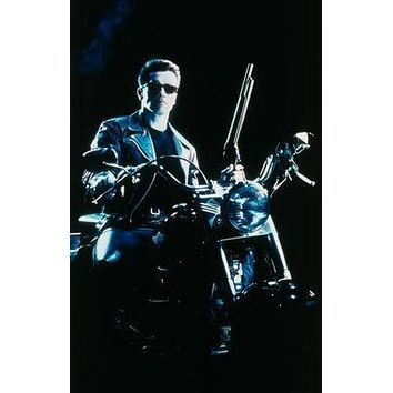 Terminator 2 Motorcycle Movie poster Metal Sign Wall Art 8in x 12in