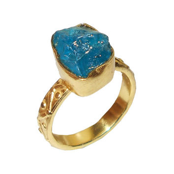 Gold Vermeil Ring, Rough Stone Ring, Birthday Gift Ring, Handmade Ring, Bezel Setting Ring, Blue Apatite Ring, Brass Ring, Women Ring